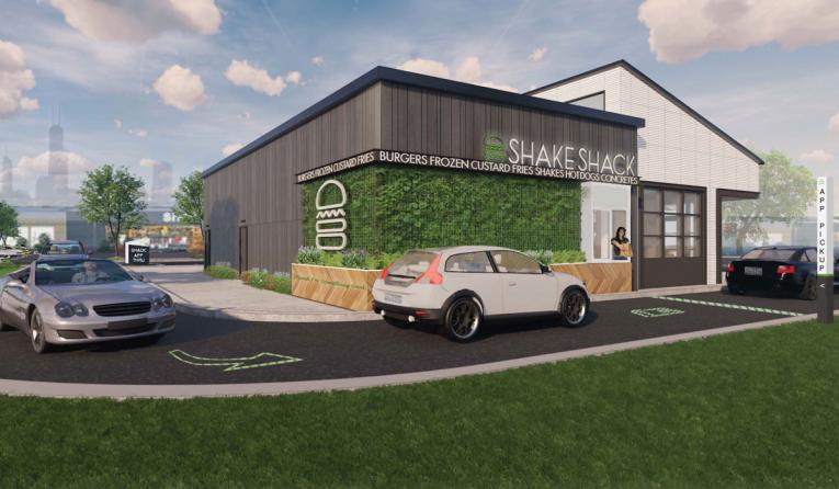 Shake Shack drive up window rendering.