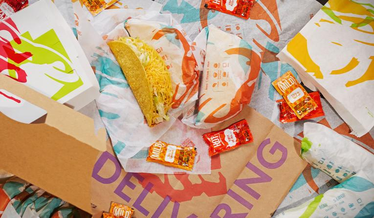 Taco Bell tacos and sauces.