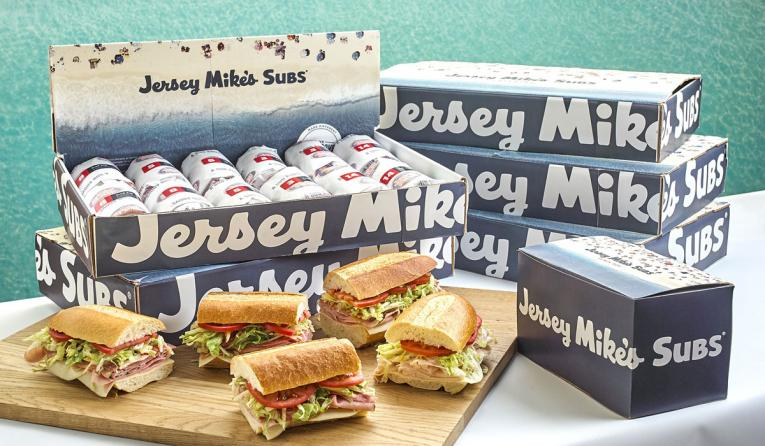 Jersey Mike's catering boxes of sandwiches.