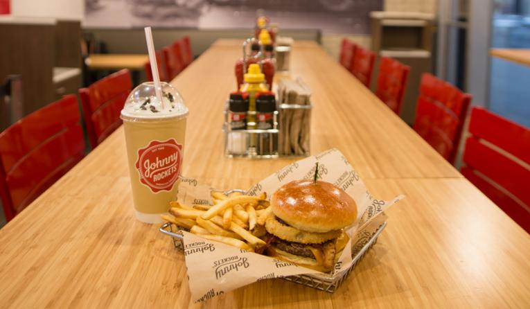 Johnny Rockets burger and shake.