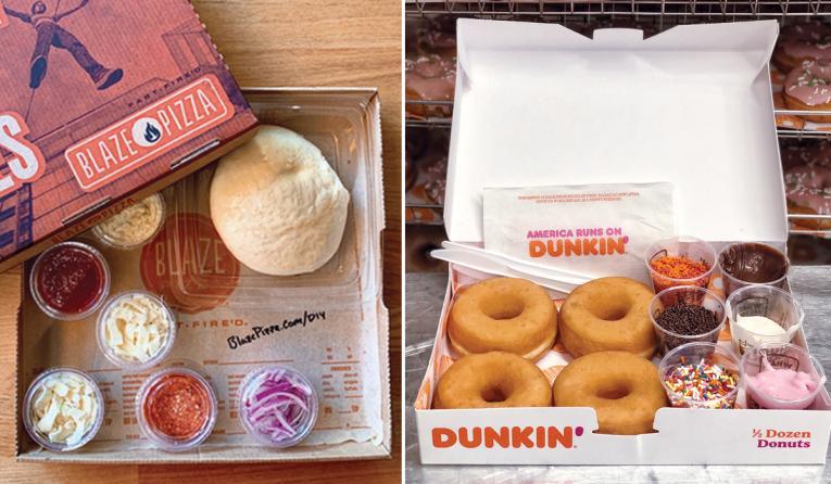Blaze Pizza and Dunkin' DIY meal kits