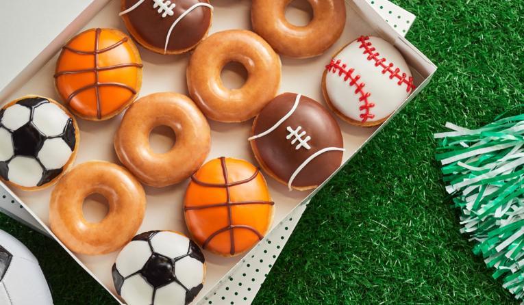 Krispy Kreme sports doughnuts.