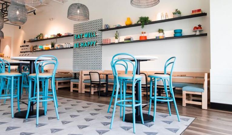 Modern Market interior restaurant.