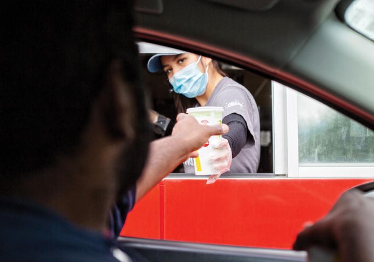 Customer at drive-thru window