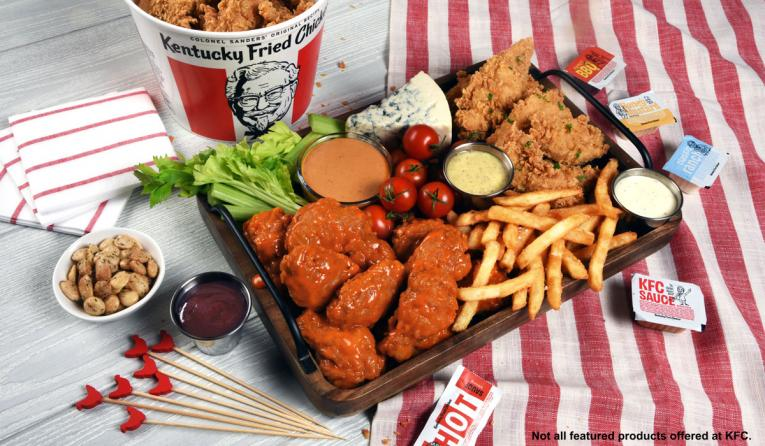 KFC sauce and chicken platter.
