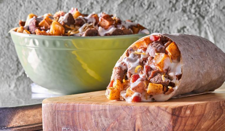 Moe's Southwest Gril Loaded Steak & Potato Burrito.