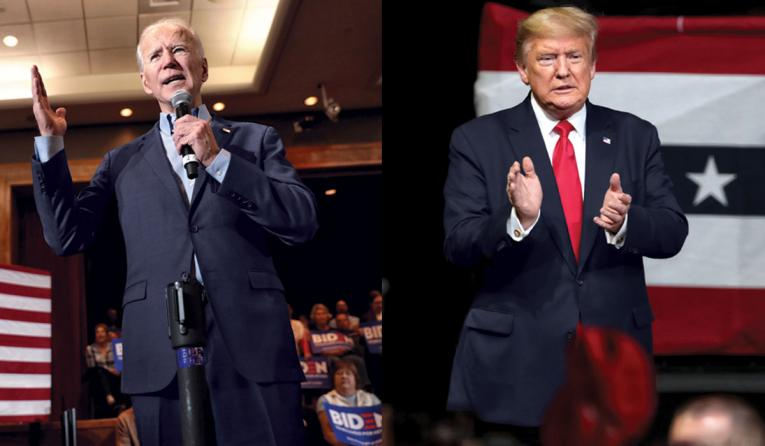 former vice president Joe Biden (left) and President Donald Trump