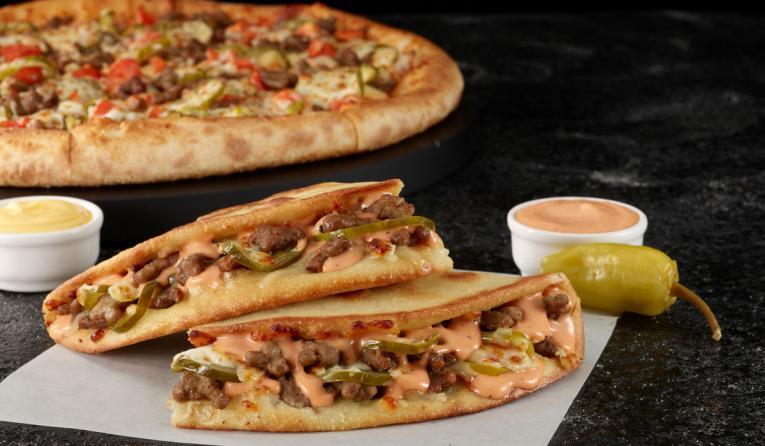 Papa John's Double Cheeseburger Pizza and Papadia.