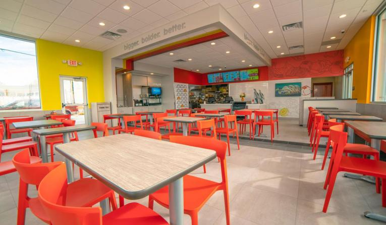 Taco John's interior of a new restaurant.