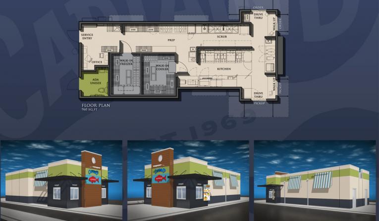 Captain D's express restaurant rendering.