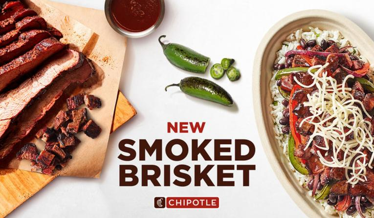 Chipotle smoked brisket advertisement.