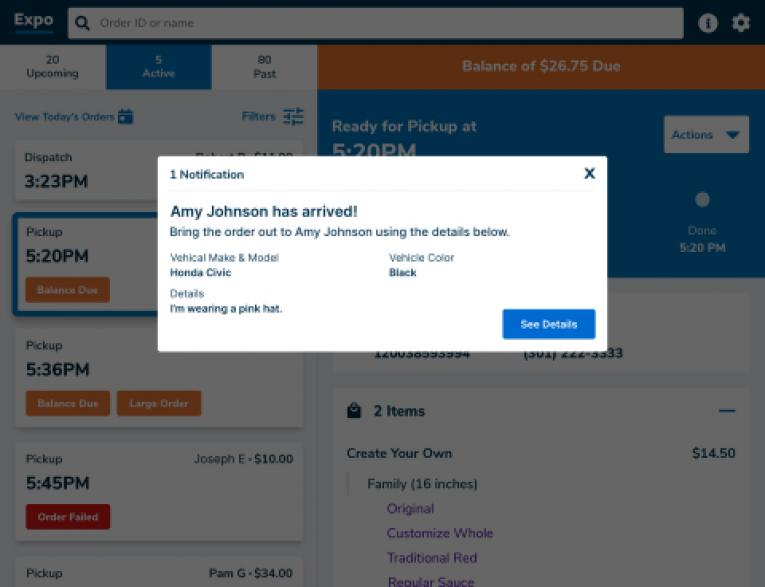 Olo screengrab of curbside service.