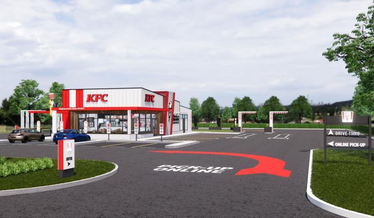 KFC next-generation restaurant design rendering.