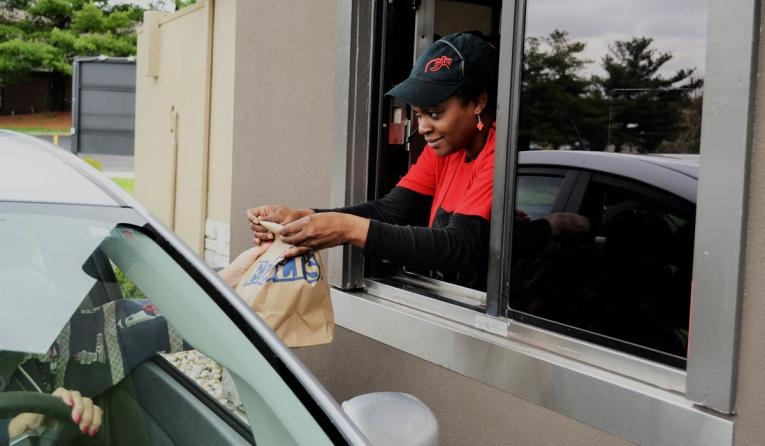 Fazoli's employee at the drive thru.
