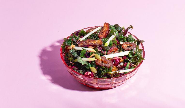 Purple Kale & Seasonal Fruit.