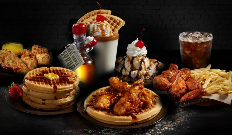 Nathan's Famous wings and waffles from virtual brand.