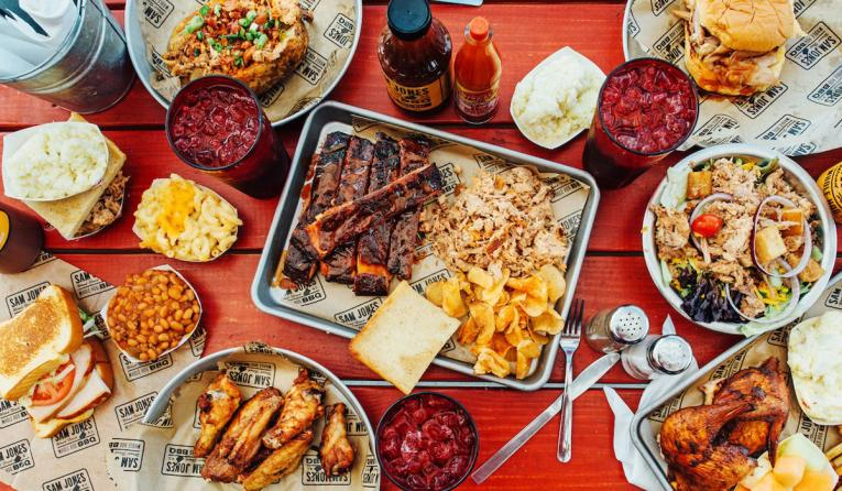 Sam Jones BBQ platter.