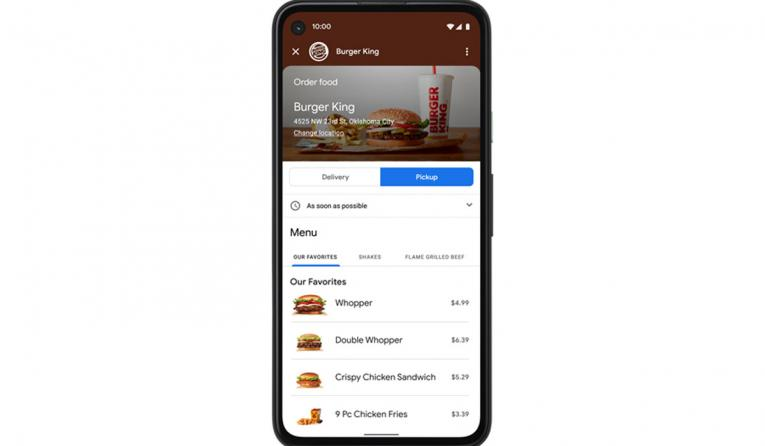 Burger King Google integration screenshot.