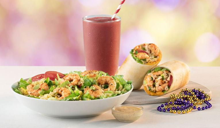 Tropical Smoothie Café Mardi Gras menu items.