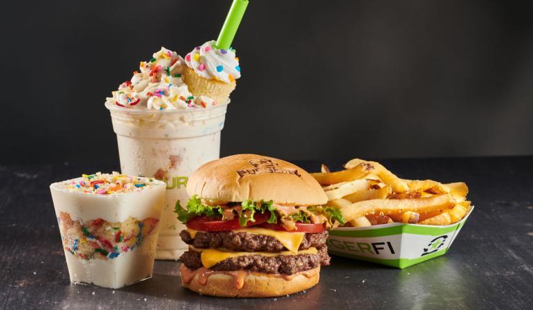 BurgerFi burger and fries.