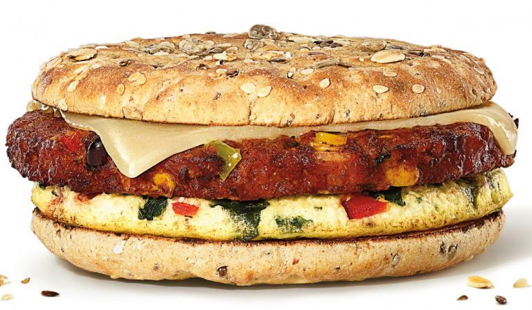 Southwest Veggie Power Breakfast Sandwich from Dunkin'.