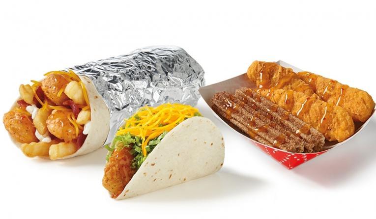 Del Taco honey mango chicken menu items.