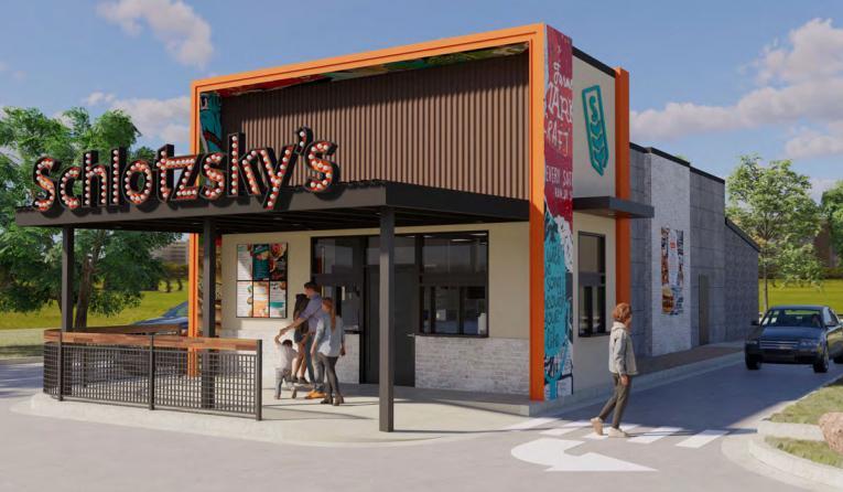 Schlotzsky's drive-thru store rendering.