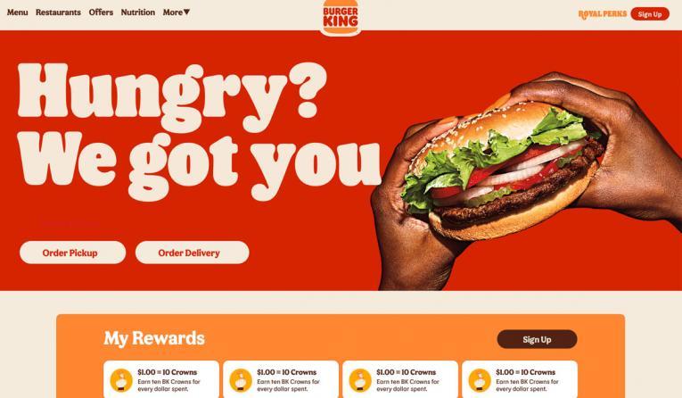 Burger King rewards platform homepage.