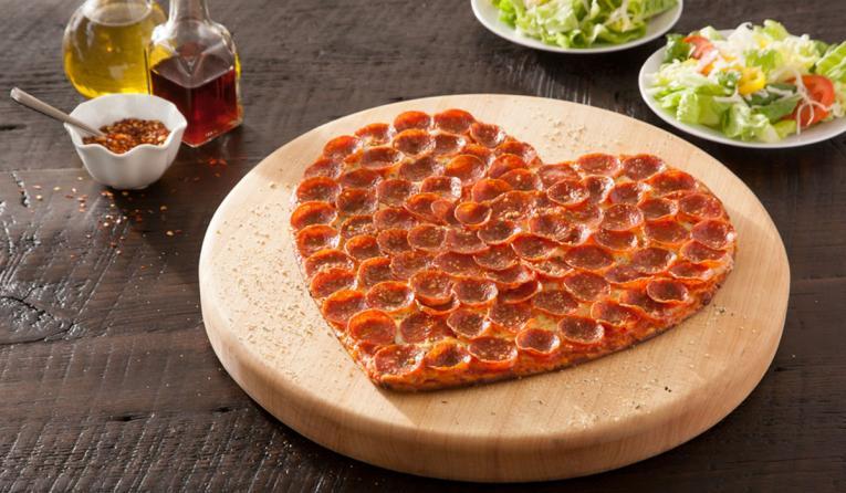 Donatos heart-shaped pizza.