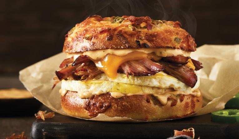 Einstein Bros. Bagels Texas Brisket Egg Sandwich.