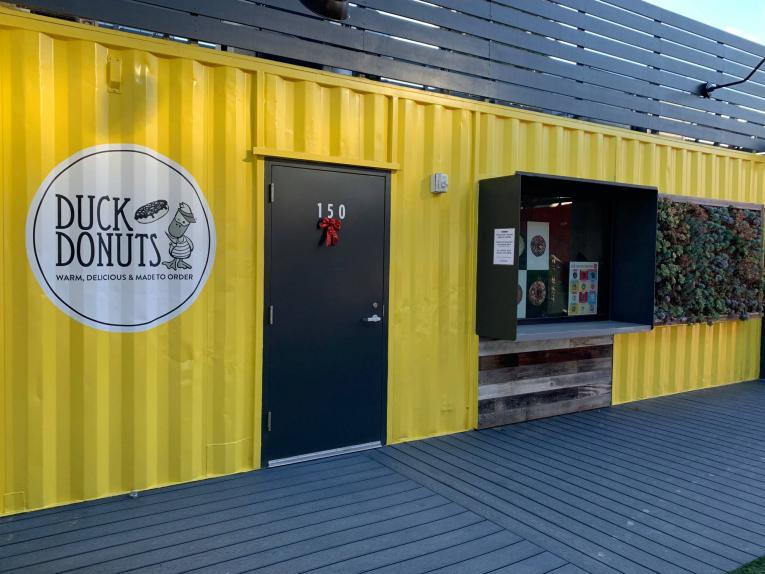 Duck Donuts shipping container store.