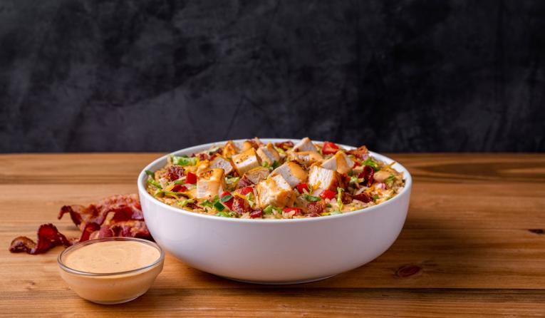 Moe's Southwest Grill chicken club bowl.