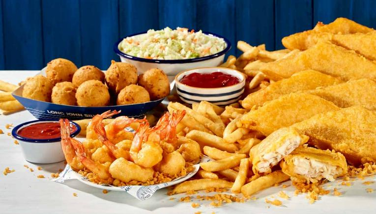 Long John Silver's plate of fish for a family.