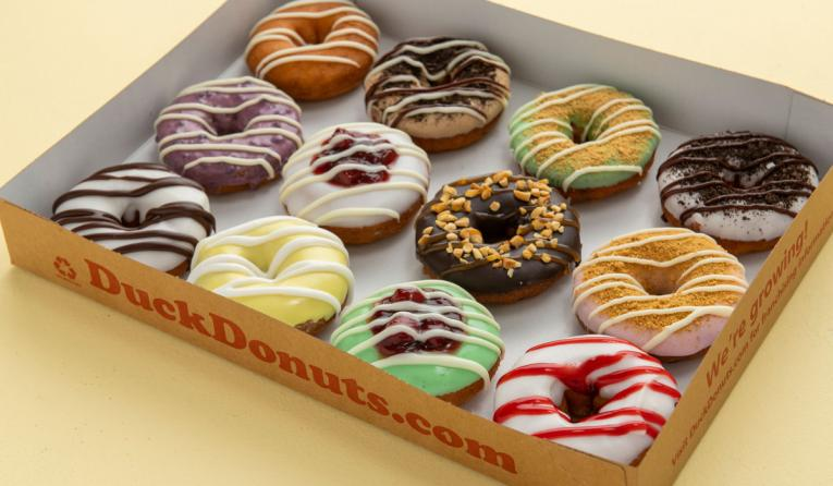 Duck Donuts box of donuts.
