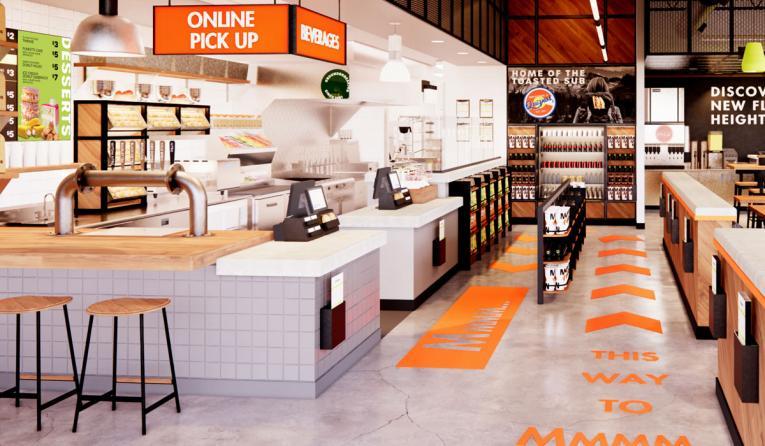 Quiznos interior rendering of new design.