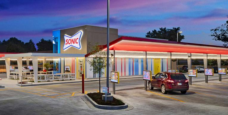Sonic Drive-In exterior of new design.