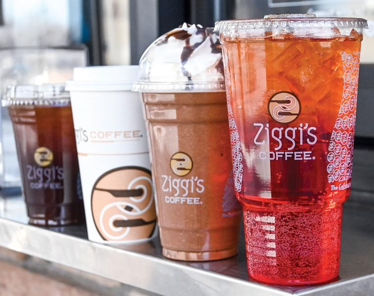 Four Ziggi's Coffee drinks