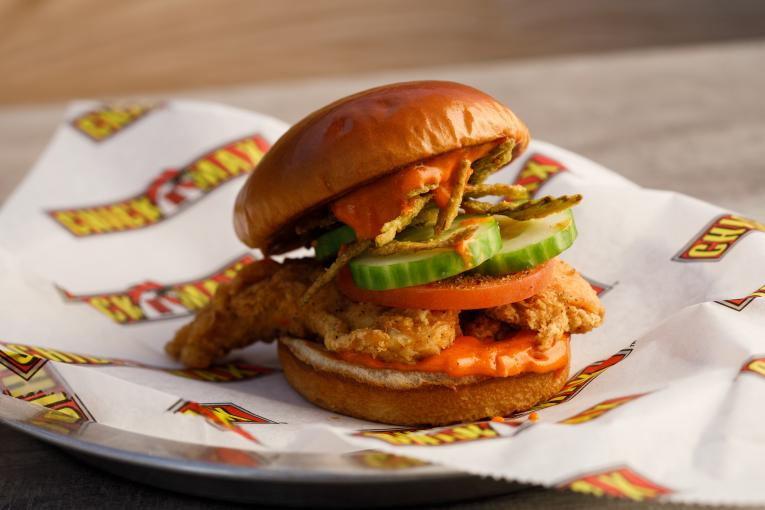 Chick N Max's sweet and spicy chicken sandwich.
