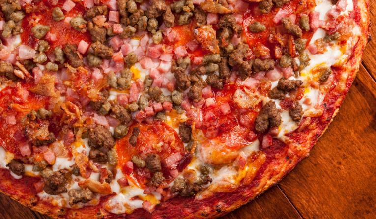 Happy Joe's meat pizza.