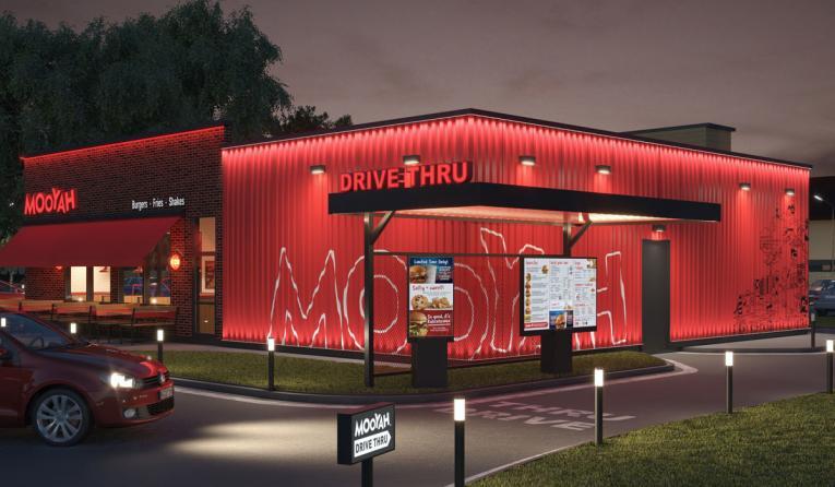 MOOYAH Burgers, Fries & Shakes drive-thru rendering.