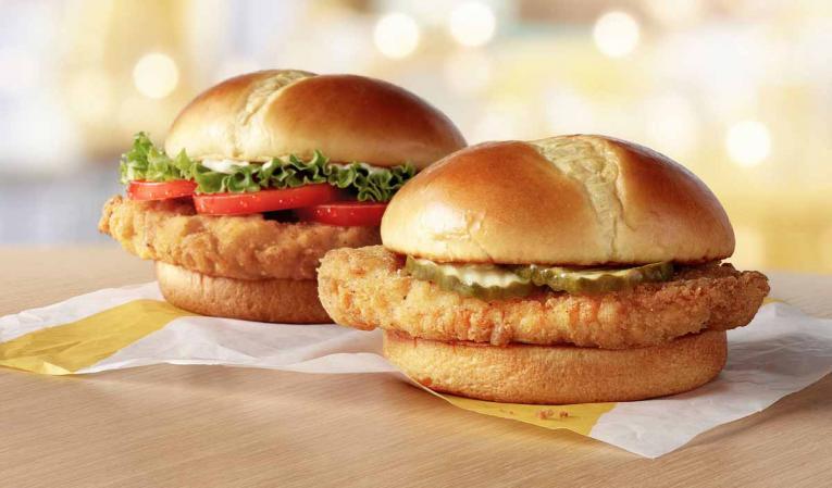 McDonald's crispy chicken sandwiches.