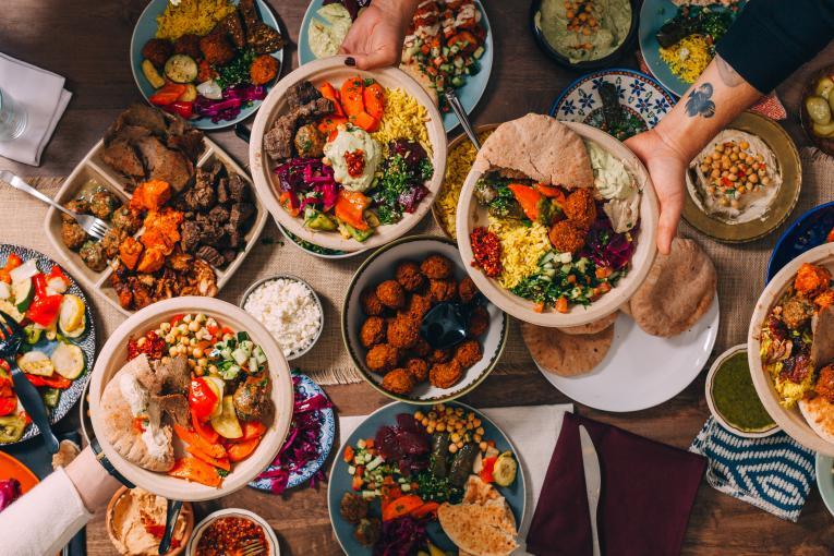 The Hummus  & Pita Co. platter of food.