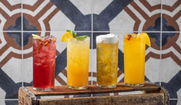 Lineup of cocktails.