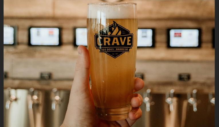 Crave Hot Dogs & BBQ beer glass