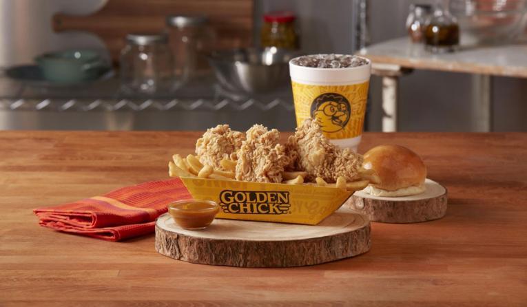 Golden Chick boneless thighs and fries