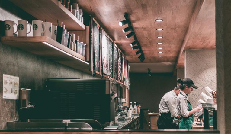Inside a Starbucks.