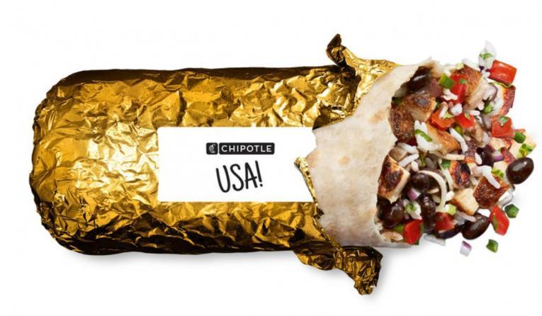 Chipotle gold foil-wrapped burrito