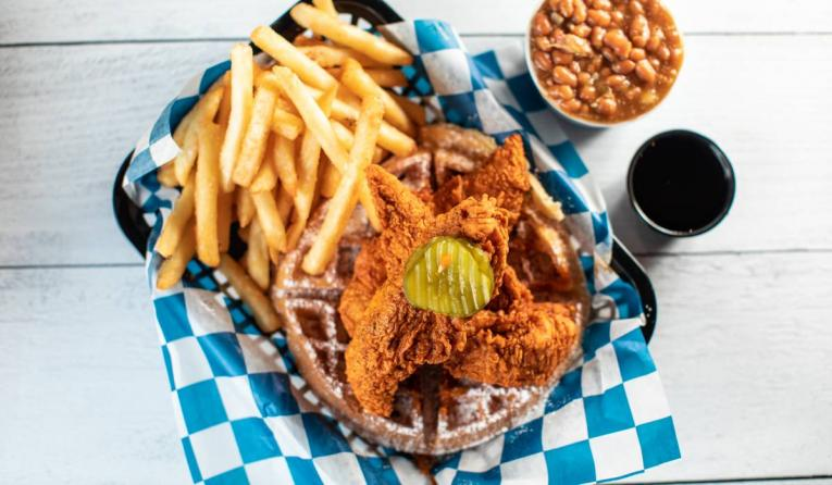 Palmer's hot chicken and fries