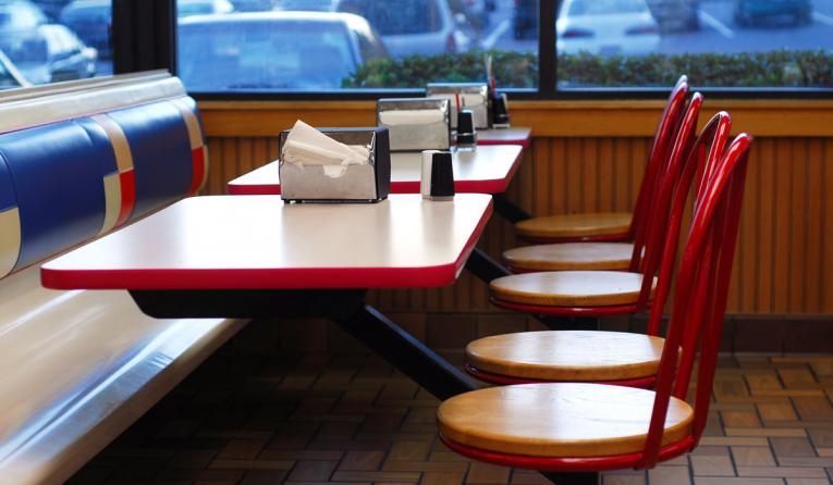 Empty fast-food restaurant.