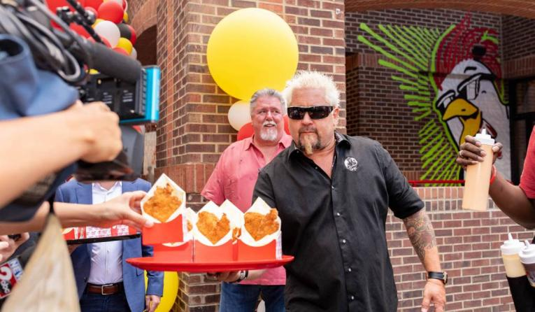 Guy Fieri at the grand opening of Chicken Guy! in Nashville
